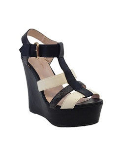 "Two tone imitation leather platform chunky heel sandal. Heel: 5 1/2""-1 3/4"" Platform."