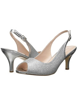 "Shimmer peep toe slingback with buckle strap. Heel: 2""."