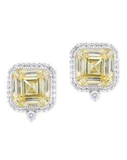 12 CTTW SQUARE CZ EARRING ASSCHER STUD PAVE FRAME with POST