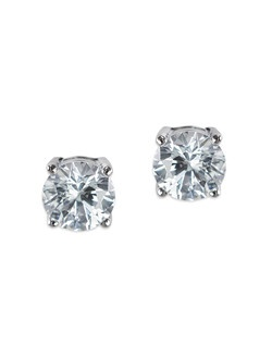 2CTTW ROUND CZ EARRINGS POST 4PRONG LUXE CLASSIC