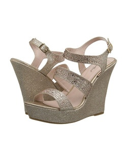"Wedge Strap Sandal W/ Stones. Heel: 5 1/4"" - 1 1/2"" Platform."