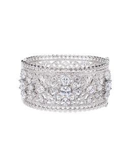 30 CTTW MULTI CZ BANGLE HINGED FLORAL OPENWORK