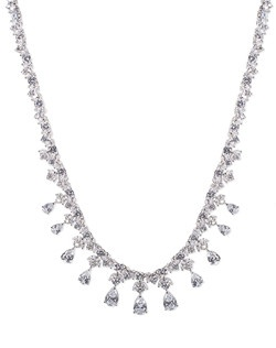 30 CTTW PEAR/ROUND CZ NECKLACE  DRAPED CLASSIC