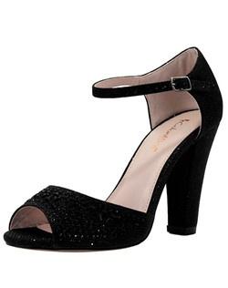 """Peep Toe Sandal W/ Stones. Heel: 3 3/4""""."""