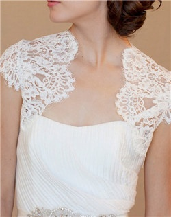 Ivory Chantilly lace bolero with fitted cap sleeves