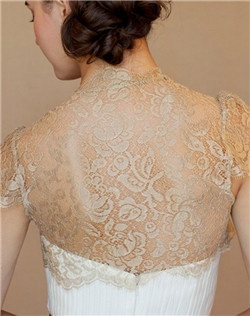 Chantilly lace, set sleeves, scallop edge at sleeves and hem