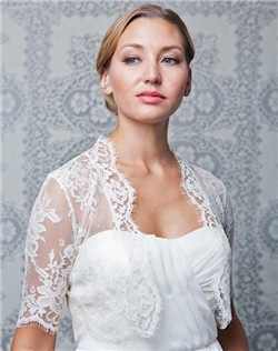 chantilly lace, 3/4 sleeve, scallop edges
