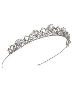 This tiara is silver plated with rhinestone swirls throughout. The focal point of this piece are the five teardrop shaped gems that will sparkle with every move you make!