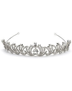 This tiara features three sizes of fiery rhinestones plus a generous center stone measuring nearly half an inch across.