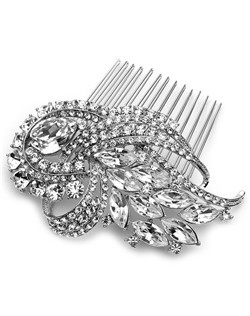 The focal point of this silver plated bridal comb is a fiery pear cut rhinestone compliemnted by swirls of round and marquise cut stones.