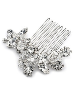In this comb, large marquise and pear cut gems are paired with hand wired crystals to create a dramatic accessory that is pure brilliance without weight.