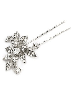 This bridal hairpin features a natural floral pattern crafted in silver tone and embellished with brilliant gems in three sizes, including a center stone that measures nearly a half inch wide.