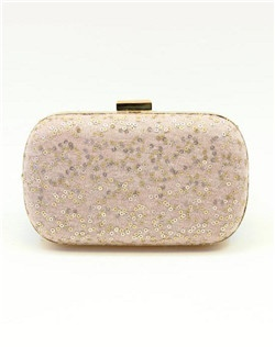 Sparkling sequins glimmer in the light like tiny effervescent bubbles. Lined with Graphite fabric, this peach champagne hued clutch is finished with a gold-tone clasp. A wristlet chain is included, which can be worn inside or out for two looks in one.