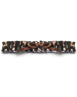 Camo isn't just for the groom's cake. This camouflage garter will give your new hubby a thrill – especially if he's of the hunting or military persuasion. Classic green camouflage with a brown satin bow. One size fits most.