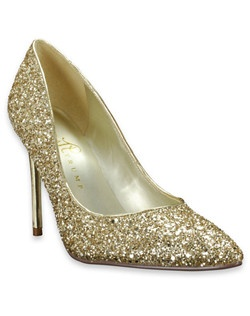 "This shoe from Ivanka Trump is a sparkly take on a traditional classic. The Kaydena is a closed-toe pump that features a glittery gold shell and a 3 1/2"" gold metallic heel. A thin heel and pointy toe add a sophisticated touch."