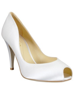 "This white silk shoe from kate spade, called the Dip, features a glamorous 3 3/4"" tapered heel and a flirty peep-toe. The sides of the shoe feature a graceful slope that will look lovely with any gown."