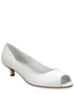 "The Gilly shoe by Something Bleu is perfect for the bride who wants both glamour and comfort. The white silk shoe features a pretty open peep-toe and a kitten heel that measures a practical 1 1/2""."