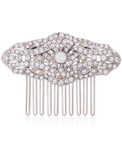 "This exquisite 1920's ""Gatsby"" hair comb, designed by Ben Amun Bridal, features a silver-plated setting replete with rows of Swarovski crystals. The comb measures 2.6"" long, and adds a touch of vintage formality to any bridal look. Gorgeous and perfect for all special occasions!"