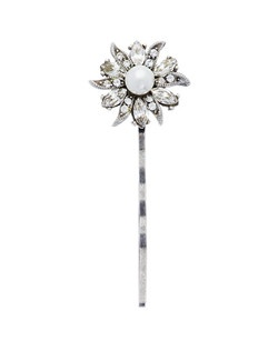 "This floral and lace hairpin, inspired by intricate Irish lace, and designed by Ben Amun Bridal, features hand-cut Swarovski crystals and pearls arranged in a silver-plated pewter setting that has a distinctly floral shape. The hairpin measures 2"" long."