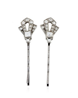 "This stunning pair of Art Deco inspired ""Gatsby"" hair pins features a combination of square, marquise, and round hand-cut Swarovski crystals in a silver-plated pewter setting. The hairpins, designed by Ben Amun Bridal, measure 2.5 inches. Pretty and practical!"