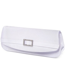 "Mirror, mirror on the wall, who's the fairest bridesmaid of them all? The one carrying this sweet white satin crystal buckle evening bag, that's who! The rectangular clutch is versatile; its understated appeal could blend with a trillion different outfits and still come out as the showstopper. An elegant white ribbon contrasts subtly with the white fabric; a rhinestone buckle is a winning touch. Dimensions: 10"" x 4 1/2"" H."