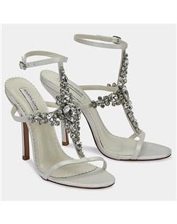 "3 3/4"" heel, crystal T strap"