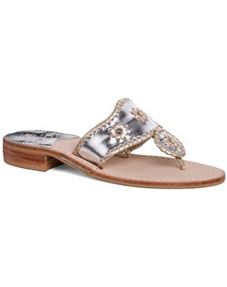 Our classic sandal in platinum with gold whipstitching is a great wedding-day option for you or your bridesmaids. This sandal features a barely-there heel for a ladylike accent, but is comfortable enough to wear all day (and night!) Plus, the neutral color combo makes this a key wear-with-anything pair to take on your honeymoon.