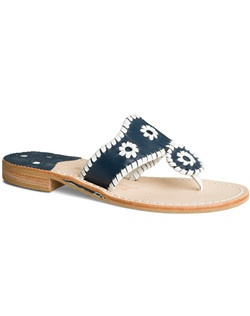 "Looking for your ""something blue""? May we suggest our comfortable and classic Palm Beach sandal in navy with our signature whipstitching in white. Wear this pair for your ceremony, change into it for dinner and dancing, or pack it to wear with maxi dresses on your beach-bound honeymoon. Whatever your wedding plans, this pair is sure to take you through every event in signature Jack Rogers style."