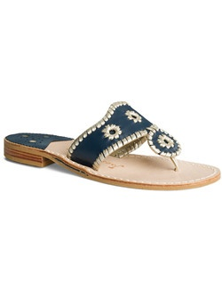 "Looking for your ""something blue""? May we suggest our comfortable and classic Palm Beach sandal in navy with our signature whipstitching in platinum for a subtle dose of glamour. Wear this pair for your low-key ceremony, change into it for dinner and dancing, or pack it to wear with maxi dresses on your beach-bound honeymoon. Whatever your wedding plans, this pair is sure to take you through every event in signature Jack Rogers style."