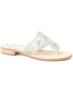 Shine on (after all, it is your big day!) in our classic sandal finished in a glitter leather. This comfortable pair, crafted with our signature rondelles and whipstitch trim, is now dressy enough to walk down the aisle in thanks to a sparkly makeover.