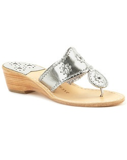 Our Hamptons Sandal on a 1 ½ inch stacked wooden wedge is a comfortable chic option for you or your bridesmaids. The slight heel lends an elegant accent, and the metallic finish (in platinum, gold or silver) will work well with any color bridesmaid dress. Finished with our signature rondelles and whipstitch trim.