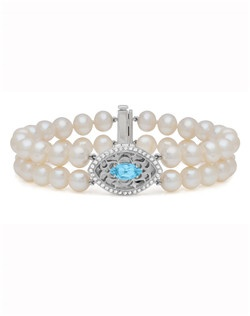 """A double row of freshwater pearls makes this classic piece a beautiful addition to any bridal ensemble. Finished with a brilliant sky blue topaz, a ring of white topaz accent stones, and delicate silverwork that lets your photo peek through. A 7.5"""" strand of Freshwater Pearls holds the 23 x 15mm locket."""