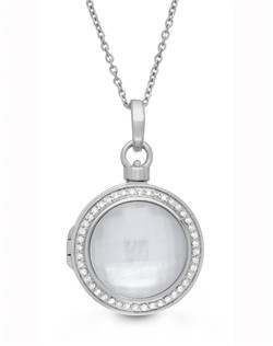 """Our classic Michael necklace draws on vintage inspiration for a piece that's both modern and timeless. Delicate diamond pavé set in silver silver haloes a classic mother of pearl and quartz center stone with stunning results. 18"""" Sterling Silver Chain features a jump ring at 16"""" allowing two length options. Locket measures 19mm."""