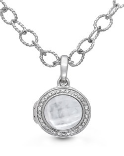 Our classic Michael bracelet draws on vintage inspiration for a piece that's both modern and timeless. Delicate diamond pavé set in sterling silver haloes a classic mother of pearl and quartz center stone with stunning results. The 9-inch chain is long enough to wear as an anklet and can be shortened to custom fit your wrist. Locket measures 15mm diameter.