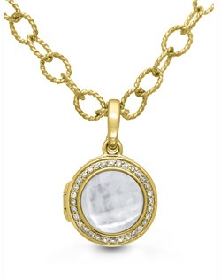 Our classic Michael bracelet draws on vintage inspiration for a piece that's both modern and timeless. Delicate diamond pavé set in gold vermeil haloes a classic mother of pearl and quartz center stone with stunning results. The 9-inch chain is long enough to wear as an anklet and can be shortened to custom fit your wrist. Locket measures 15mm diameter.