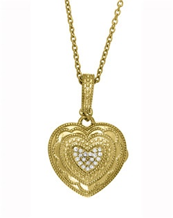 "Rose's heart motif radiates outward, comprised of dazzling diamond pavé set in gold vermeil. A classic locket shape, our heart captures the very spirit of With You. 18"" Fold Vermeil Chain features a jump ring at 16"" allowing two length options. Locket measures 15 x 16mm."