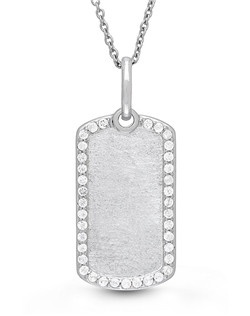 "To celebrate the lives of those in the service, the Meagan necklace puts a feminine spin on the classic dog tag, crafting the iconic shape out of sterling silver and trimming it with shimmery white topaz gemstones. 18"" Sterling Chain features a jump ring at 16"" allowing two length options. Locket measures 23 X 13mm."