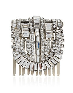"""""""Designed by Ben-Amun Bridal Silver plated pewter Baguette and Round brilliant Hand-Cut Swarovski Crystals 2"""""""" long 1.5"""""""" wide Made in the USA"""""""
