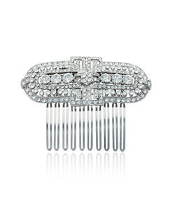 """""""Designed by Ben-Amun Bridal Silver plated pewter Round brilliant Hand-Cut Swarovski Crystals 2.75"""""""" long Made in the USA"""""""