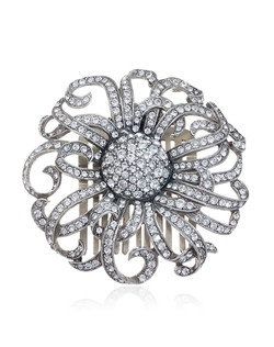 """""""Desgined by Ben-Amun Bridal Silver plated pewter Round brilliant Hand-Cut Swarovski Crystals 3"""""""" long Made in the USA"""""""