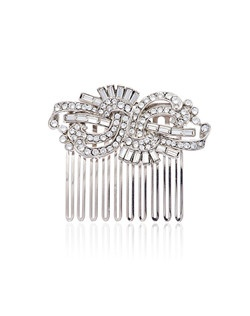 """""""Designed by Ben-Amun Bridal Silver plated pewter Round brilliant and Baguette Hand-Cut Swarovski Crystals 2.5"""""""" long Made in the USA"""""""