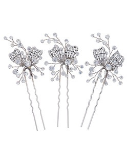 """""""Designed by Nina Rhodium plated Base Metal Clear Round Crystals 3.5"""""""" long Set of 3"""""""