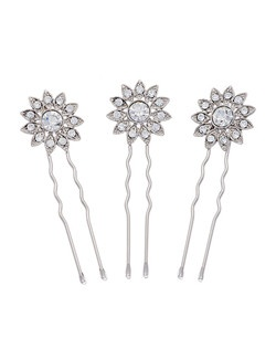 """""""Designed by Nina Rhodium plated Base Metal Clear Crystals 2.5"""""""" long Set of 3"""""""