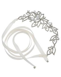"""Designed by Nina Rhodium plated base metal Clear Crystals 8.5"""" long 3"""" wide Satin ribbon"""