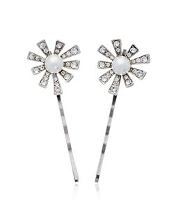 """""""Designed by Ben-Amun Bridal Silver plated pewter Round brilliant Hand-Cut Swarovski Crystals Synthetic Pearls 2.5"""""""" long Set of 2 Made in the USA"""""""