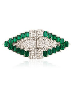 """""""Designed by Ben-Amun Bridal Silver plated pewter Emerald and Clear Hand-Cut Swarovski Crystals 1.5"""""""" long 3.25"""""""" wide Made in the USA"""""""