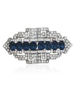 """""""Designed by Ben-Amun Bridal Silver plated pewter Round brilliant, Baguette and oval Hand-Cut Swarovski Crystals Sapphire Blue and Clear Crystals 1.25"""""""" long 2"""""""" wide Made in the USA"""""""