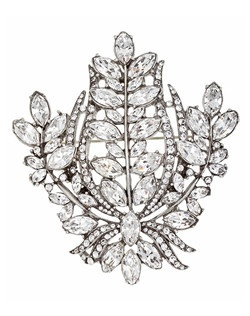 """""""Designed by Ben-Amun Bridal Silver plated pewter Marquise and Round brilliant Hand-Cut Swarovski Crystals 3"""""""" long 2.5"""""""" wide Made in the USA"""""""