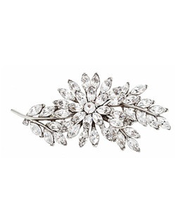 """""""Designed by Ben-Amun Bridal Silver plated pewter Marquise and Round brilliant Hand-Cut Swarovski Crystals 2"""""""" long 3.5"""""""" wide Made in the USA"""""""
