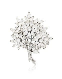 """""""Designed by Ben-Amun Bridal Silver plated pewter Marquise and Round brilliant Hand-Cut Swarovski Crystals 3.25"""""""" long 2.75"""""""" wide Made in the USA"""""""